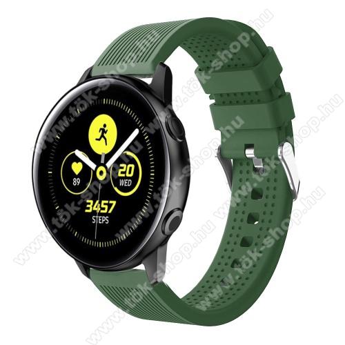 Okosóra szíj - szilikon, csíkos textúra mintás - SÖTÉTZÖLD - 128mm+ 85mm hosszú, 20mm széles, 135-215mm csuklóméretig ajánlott - SAMSUNG SM-R500 Galaxy Watch Active / SAMSUNG Galaxy Watch Active2 40mm / SAMSUNG Galaxy Watch Active2 44mm