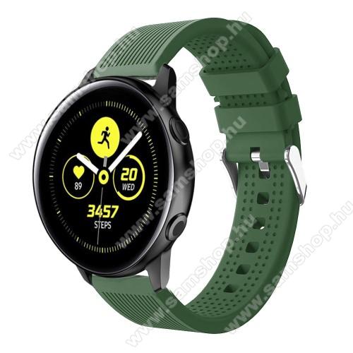 SAMSUNG SM-R600 Galaxy Gear SportOkosóra szíj - szilikon, csíkos textúra mintás - SÖTÉTZÖLD - 128mm+ 85mm hosszú, 20mm széles, 135-215mm csuklóméretig ajánlott - SAMSUNG Galaxy Watch 42mm / Xiaomi Amazfit GTS / HUAWEI Watch GT / SAMSUNG Gear S2 / HUAWEI Watch GT 2 42mm / Galaxy Watch Act