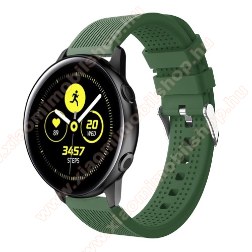 Xiaomi Amazfit Youth Edition Okosóra szíj - szilikon, csíkos textúra mintás - SÖTÉTZÖLD - 128mm+ 85mm hosszú, 20mm széles, 135-215mm csuklóméretig ajánlott - SAMSUNG Galaxy Watch 42mm / Xiaomi Amazfit GTS / HUAWEI Watch GT / SAMSUNG Gear S2 / HUAWEI Watch GT 2 42mm / Galaxy Watch Act