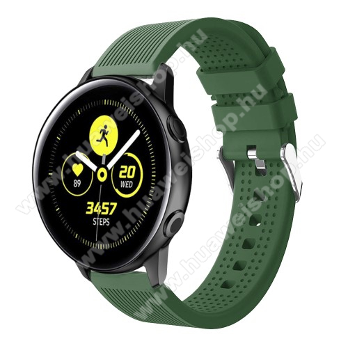 Okosóra szíj - szilikon, csíkos textúra mintás - SÖTÉTZÖLD - 128mm+ 85mm hosszú, 20mm széles, 135-215mm csuklóméretig ajánlott - SAMSUNG Galaxy Watch 42mm / Xiaomi Amazfit GTS / HUAWEI Watch GT / SAMSUNG Gear S2 / HUAWEI Watch GT 2 42mm / Galaxy Watch Act
