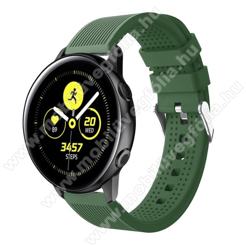 HUAWEI MagicWatch 2 42mm Okosóra szíj - szilikon, csíkos textúra mintás - SÖTÉTZÖLD - 128mm+ 85mm hosszú, 20mm széles, 135-215mm csuklóméretig ajánlott - SAMSUNG Galaxy Watch 42mm / Xiaomi Amazfit GTS / HUAWEI Watch GT / SAMSUNG Gear S2 / HUAWEI Watch GT 2 42mm / Galaxy Watch Act