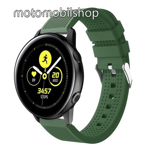 Okosóra szíj - szilikon, csíkos textúra mintás - SÖTÉTZÖLD - 128mm+ 85mm hosszú, 20mm széles, 135-215mm csuklóméretig ajánlott - SAMSUNG Galaxy Watch 42mm / Xiaomi Amazfit GTS / HUAWEI Watch GT / SAMSUNG Gear S2 / HUAWEI Watch GT 2 42mm / Galaxy Watch Act