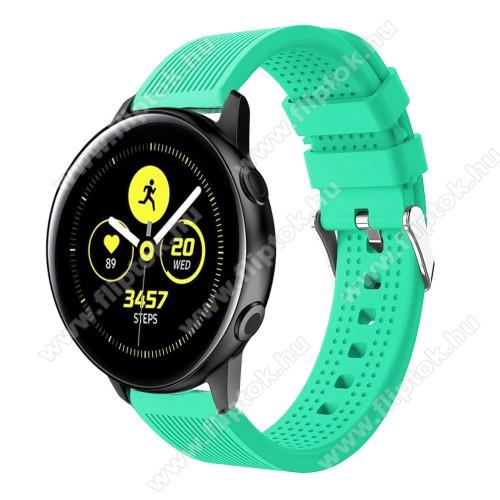 EVOLVEO SPORTWATCH M1SOkosóra szíj - szilikon, csíkos textúra mintás - ZÖLD - 128mm+ 85mm hosszú, 20mm széles, 135-215mm csuklóméretig ajánlott - SAMSUNG Galaxy Watch 42mm / Xiaomi Amazfit GTS / SAMSUNG Gear S2 / HUAWEI Watch GT 2 42mm / Galaxy Watch Active / Active 2