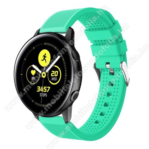 Xiaomi 70mai SaphirOkosóra szíj - szilikon, csíkos textúra mintás - ZÖLD - 128mm+ 85mm hosszú, 20mm széles, 135-215mm csuklóméretig ajánlott - SAMSUNG Galaxy Watch 42mm / Xiaomi Amazfit GTS / SAMSUNG Gear S2 / HUAWEI Watch GT 2 42mm / Galaxy Watch Active / Active 2