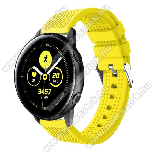 HUAWEI Honor MagicWatch 2 42mm Okosóra szíj - szilikon, csíkos textúra mintás - CITROMSÁRGA - 128mm+ 85mm hosszú, 20mm széles, 135-215mm csuklóméretig ajánlott - SAMSUNG Galaxy Watch 42mm / Xiaomi Amazfit GTS / SAMSUNG Gear S2 / HUAWEI Watch GT 2 42mm / Galaxy Watch Active / Active 2
