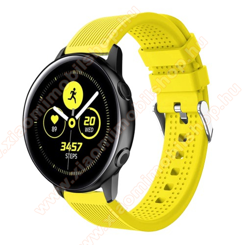 Xiaomi Amazfit GTSOkosóra szíj - szilikon, csíkos textúra mintás - CITROMSÁRGA - 128mm+ 85mm hosszú, 20mm széles, 135-215mm csuklóméretig ajánlott - SAMSUNG Galaxy Watch 42mm / Xiaomi Amazfit GTS / SAMSUNG Gear S2 / HUAWEI Watch GT 2 42mm / Galaxy Watch Active / Active 2