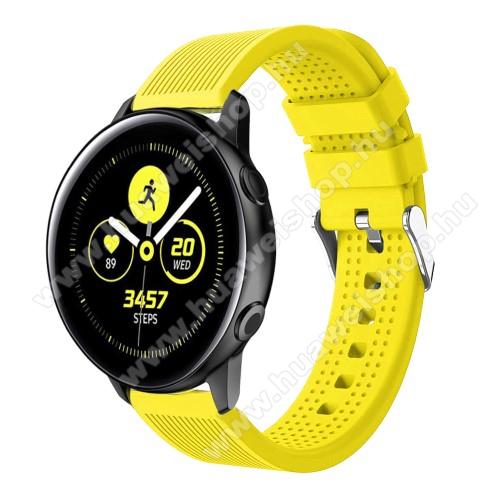Okosóra szíj - szilikon, csíkos textúra mintás - CITROMSÁRGA - 128mm+ 85mm hosszú, 20mm széles, 135-215mm csuklóméretig ajánlott - SAMSUNG Galaxy Watch 42mm / Xiaomi Amazfit GTS / SAMSUNG Gear S2 / HUAWEI Watch GT 2 42mm / Galaxy Watch Active / Active 2