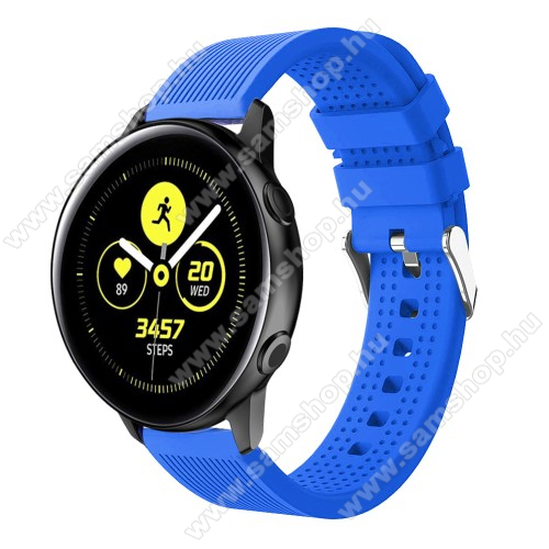 SAMSUNG Galaxy Watch Active2 40mm Okosóra szíj - szilikon, csíkos textúra mintás - KÉK - 128mm+ 85mm hosszú, 20mm széles, 135-215mm csuklóméretig ajánlott - SAMSUNG Galaxy Watch 42mm / Xiaomi Amazfit GTS / SAMSUNG Gear S2 / HUAWEI Watch GT 2 42mm / Galaxy Watch Active / Active 2