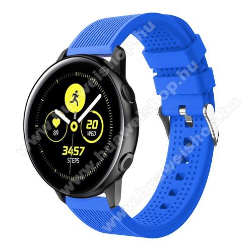 HUAWEI Watch GT 2 42mmOkosóra szíj - szilikon, csíkos textúra mintás - KÉK - 128mm+ 85mm hosszú, 20mm széles, 135-215mm csuklóméretig ajánlott - SAMSUNG Galaxy Watch 42mm / Xiaomi Amazfit GTS / HUAWEI Watch GT / SAMSUNG Gear S2 / HUAWEI Watch GT 2 42mm / Galaxy Watch Ac