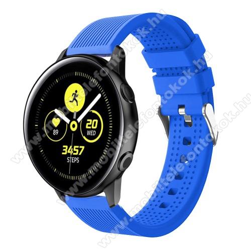 Xiaomi Amazfit NeoOkosóra szíj - szilikon, csíkos textúra mintás - KÉK - 128mm+ 85mm hosszú, 20mm széles, 135-215mm csuklóméretig ajánlott - SAMSUNG Galaxy Watch 42mm / Xiaomi Amazfit GTS / SAMSUNG Gear S2 / HUAWEI Watch GT 2 42mm / Galaxy Watch Active / Active 2