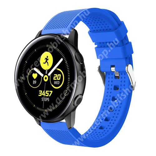 Okosóra szíj - szilikon, csíkos textúra mintás - KÉK - 128mm+ 85mm hosszú, 20mm széles, 135-215mm csuklóméretig ajánlott - SAMSUNG Galaxy Watch 42mm / Xiaomi Amazfit GTS / HUAWEI Watch GT / SAMSUNG Gear S2 / HUAWEI Watch GT 2 42mm / Galaxy Watch Ac