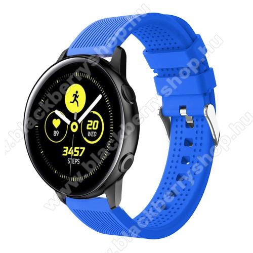 Okosóra szíj - szilikon, csíkos textúra mintás - KÉK - 128mm+ 85mm hosszú, 20mm széles, 135-215mm csuklóméretig ajánlott - SAMSUNG Galaxy Watch 42mm / Xiaomi Amazfit GTS / SAMSUNG Gear S2 / HUAWEI Watch GT 2 42mm / Galaxy Watch Active / Active 2