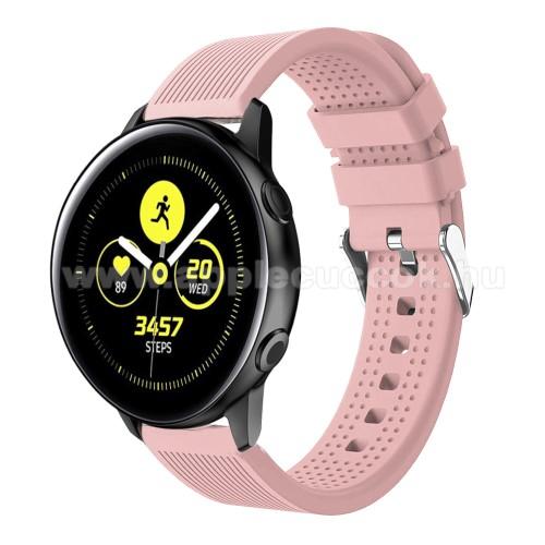 Okosóra szíj - szilikon, csíkos textúra mintás - RÓZSASZÍN - 128mm+ 85mm hosszú, 20mm széles, 135-215mm csuklóméretig ajánlott - SAMSUNG Galaxy Watch 42mm / Xiaomi Amazfit GTS / HUAWEI Watch GT / SAMSUNG Gear S2 / HUAWEI Watch GT 2 42mm / Galaxy Watch Act