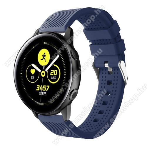 SAMSUNG SM-R600 Galaxy Gear SportOkosóra szíj - szilikon, csíkos textúra mintás - SÖTÉTKÉK - 128mm+ 85mm hosszú, 20mm széles, 135-215mm csuklóméretig ajánlott - SAMSUNG Galaxy Watch 42mm / Xiaomi Amazfit GTS / HUAWEI Watch GT / SAMSUNG Gear S2 / HUAWEI Watch GT 2 42mm / Galaxy Watch Acti