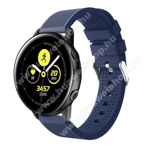 HUAWEI Watch GT 2 42mmOkosóra szíj - szilikon, csíkos textúra mintás - SÖTÉTKÉK - 128mm+ 85mm hosszú, 20mm széles, 135-215mm csuklóméretig ajánlott - SAMSUNG Galaxy Watch 42mm / Xiaomi Amazfit GTS / HUAWEI Watch GT / SAMSUNG Gear S2 / HUAWEI Watch GT 2 42mm / Galaxy Watch Acti