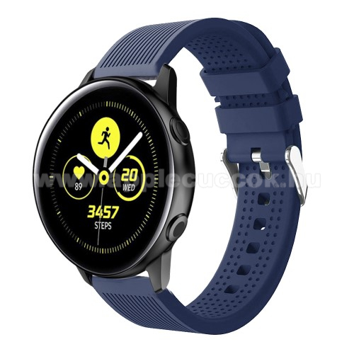 Okosóra szíj - szilikon, csíkos textúra mintás - SÖTÉTKÉK - 128mm+ 85mm hosszú, 20mm széles, 135-215mm csuklóméretig ajánlott - SAMSUNG SM-R500 Galaxy Watch Active / SAMSUNG Galaxy Watch Active2 40mm / SAMSUNG Galaxy Watch Active2 44mm