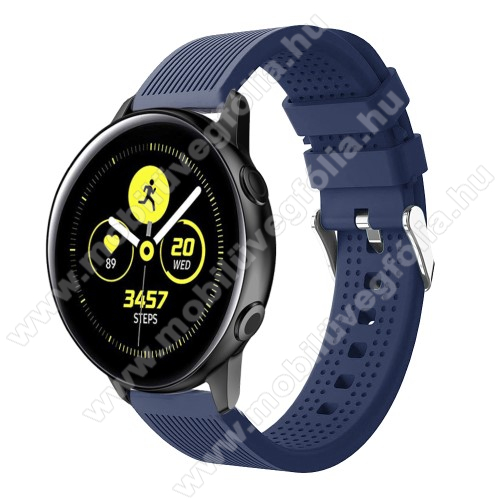 HUAWEI MagicWatch 2 42mm Okosóra szíj - szilikon, csíkos textúra mintás - SÖTÉTKÉK - 128mm+ 85mm hosszú, 20mm széles, 135-215mm csuklóméretig ajánlott - SAMSUNG Galaxy Watch 42mm / Xiaomi Amazfit GTS / HUAWEI Watch GT / SAMSUNG Gear S2 / HUAWEI Watch GT 2 42mm / Galaxy Watch Acti