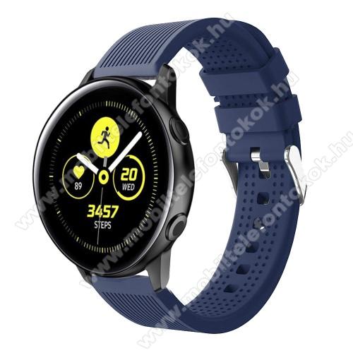 Okosóra szíj - szilikon, csíkos textúra mintás - SÖTÉTKÉK - 128mm+ 85mm hosszú, 20mm széles, 135-215mm csuklóméretig ajánlott - SAMSUNG Galaxy Watch 42mm / Xiaomi Amazfit GTS / HUAWEI Watch GT / SAMSUNG Gear S2 / HUAWEI Watch GT 2 42mm / Galaxy Watch Acti