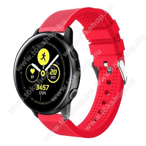 Okosóra szíj - szilikon, csíkos textúra mintás - PIROS - 128mm+ 85mm hosszú, 20mm széles, 135-215mm csuklóméretig ajánlott - SAMSUNG Galaxy Watch 42mm / Xiaomi Amazfit GTS / HUAWEI Watch GT / SAMSUNG Gear S2 / HUAWEI Watch GT 2 42mm / Galaxy Watch Active