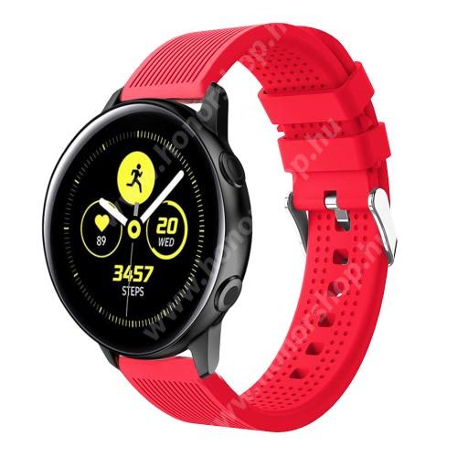 HUAWEI Honor MagicWatch 2 42mm Okosóra szíj - szilikon, csíkos textúra mintás - PIROS - 128mm+ 85mm hosszú, 20mm széles, 135-215mm csuklóméretig ajánlott - SAMSUNG Galaxy Watch 42mm / Xiaomi Amazfit GTS / SAMSUNG Gear S2 / HUAWEI Watch GT 2 42mm / Galaxy Watch Active / Active 2