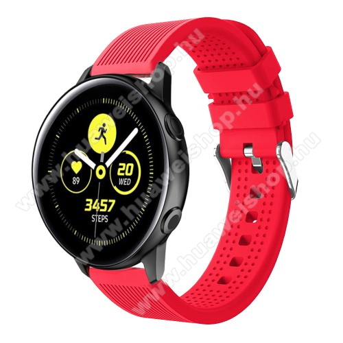 HUAWEI Watch GT 2 42mm Okosóra szíj - szilikon, csíkos textúra mintás - PIROS - 128mm+ 85mm hosszú, 20mm széles, 135-215mm csuklóméretig ajánlott - SAMSUNG Galaxy Watch 42mm / Xiaomi Amazfit GTS / HUAWEI Watch GT / SAMSUNG Gear S2 / HUAWEI Watch GT 2 42mm / Galaxy Watch Active