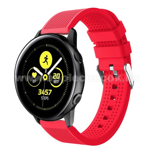 Okosóra szíj - szilikon, csíkos textúra mintás - PIROS - 128mm+ 85mm hosszú, 20mm széles, 135-215mm csuklóméretig ajánlott - SAMSUNG Galaxy Watch 42mm / Xiaomi Amazfit GTS / HUAWEI Watch GT / SAMSUNG Gear S2 / HUAWEI Watch GT 2 42mm / Galaxy Watch Active