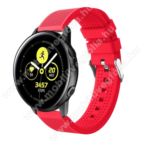 HUAWEI MagicWatch 2 42mm Okosóra szíj - szilikon, csíkos textúra mintás - PIROS - 128mm+ 85mm hosszú, 20mm széles, 135-215mm csuklóméretig ajánlott - SAMSUNG Galaxy Watch 42mm / Xiaomi Amazfit GTS / HUAWEI Watch GT / SAMSUNG Gear S2 / HUAWEI Watch GT 2 42mm / Galaxy Watch Active