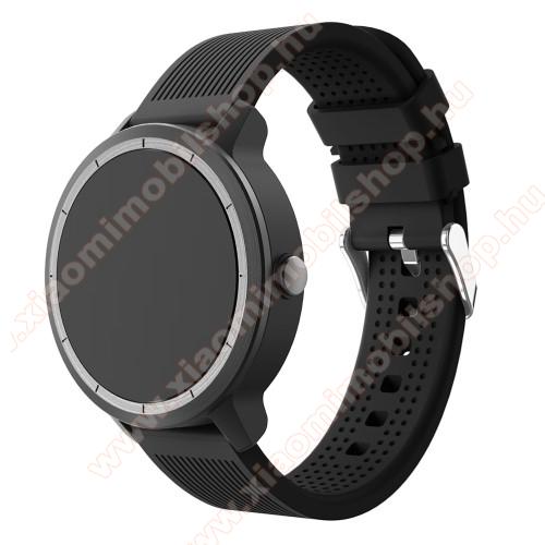 Xiaomi Amazfit GTSOkosóra szíj - szilikon, csíkos textúra mintás - FEKETE - 127mm + 85mm hosszú, 20mm széles, max 205mm csuklóméretig ajánlott - Garmin Vivoactive 3 / SAMSUNG Galaxy Watch 42mm / Xiaomi Amazfit GTS / SAMSUNG Gear S2 / HUAWEI Watch GT 2 42mm / Galaxy Watch A