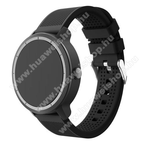 HUAWEI Watch 2Okosóra szíj - szilikon, csíkos textúra mintás - FEKETE - 127mm + 85mm hosszú, 20mm széles, max 205mm csuklóméretig ajánlott - Garmin Vivoactive 3 / SAMSUNG Galaxy Watch 42mm / Xiaomi Amazfit GTS / SAMSUNG Gear S2 / HUAWEI Watch GT 2 42mm / Galaxy Watch A