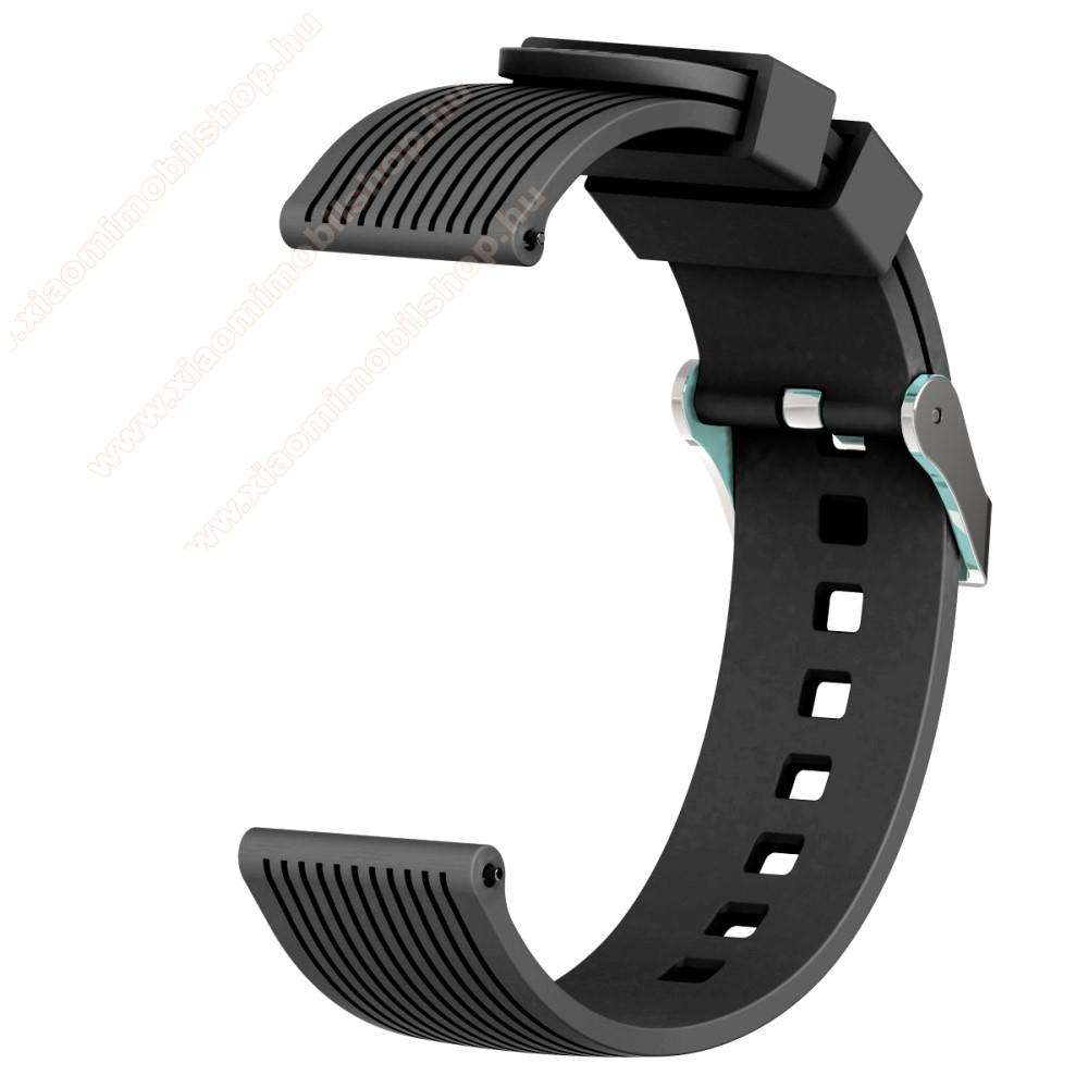 Okosóra szíj - szilikon, csíkos textúra mintás - FEKETE - 85mm + 135mm hosszú, 20mm széles - SAMSUNG Galaxy Watch 42mm / Xiaomi Amazfit GTS / SAMSUNG Gear S2 / HUAWEI Watch GT 2 42mm / Galaxy Watch Active / Active 2