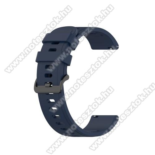 WOTCHI SmartWatch W22SOkosóra szíj - szilikon - ÉJKÉK - 120mm+85mm hosszú, 20mm széles, 140-220mm átmérőjű csuklóméretig - SAMSUNG Galaxy Watch 42mm / Amazfit GTS / Galaxy Watch3 41mm / HUAWEI Watch GT 2 42mm / Galaxy Watch Active / Active 2