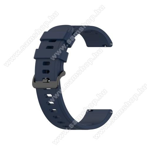SAMSUNG Galaxy Watch 42mm (SM-R810NZ)Okosóra szíj - szilikon - ÉJKÉK - 120mm+85mm hosszú, 20mm széles, 140-220mm átmérőjű csuklóméretig - SAMSUNG Galaxy Watch 42mm / Amazfit GTS / Galaxy Watch3 41mm / HUAWEI Watch GT 2 42mm / Galaxy Watch Active / Active 2