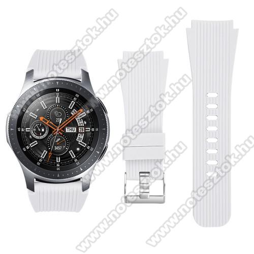 HUAWEI Honor MagicWatch 2 46mmOkosóra szíj - szilikon - FEHÉR - 102mm + 80mm hosszú, 22mm széles - SAMSUNG Galaxy Watch 46mm / SAMSUNG Gear S3 Classic / SAMSUNG Gear S3 Frontier