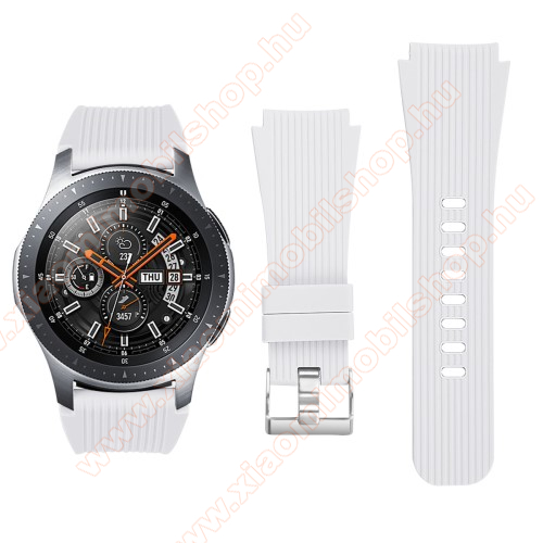 Okosóra szíj - szilikon - FEHÉR - 102mm + 80mm hosszú, 22mm széles - SAMSUNG Galaxy Watch 46mm / SAMSUNG Gear S3 Classic / SAMSUNG Gear S3 Frontier