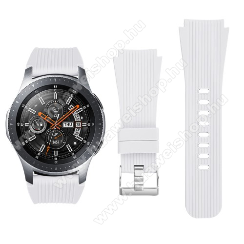 HUAWEI Watch GT 2 46mmOkosóra szíj - szilikon - FEHÉR - 102mm + 80mm hosszú, 22mm széles - SAMSUNG Galaxy Watch 46mm / SAMSUNG Gear S3 Classic / SAMSUNG Gear S3 Frontier