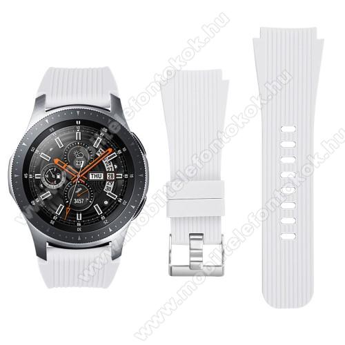 Okosóra szíj - szilikon - FEHÉR - 102mm + 80mm hosszú, 20mm széles - SAMSUNG Galaxy Watch 46mm / SAMSUNG Gear S3 Classic / SAMSUNG Gear S3 Frontier