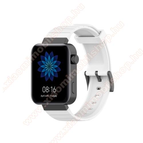 Xiaomi Mi WatchOkosóra szíj - szilikon - FEHÉR - 121mm + 88mm hosszú, 18mm széles - Xiaomi Mi Watch / Fossil Gen 4 / HUAWEI TalkBand B5