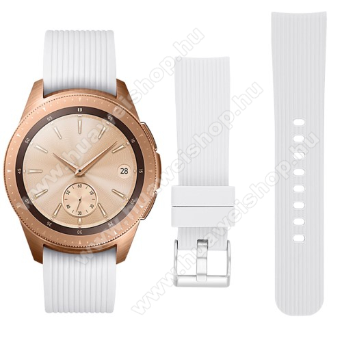 HUAWEI Watch GT 2 42mmOkosóra szíj - szilikon - FEHÉR - SAMSUNG Galaxy Watch 42mm / HUAWEI Watch GT 2 42mm