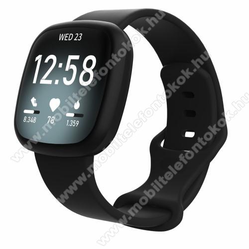 Fitbit Versa 3Okosóra szíj - szilikon - FEKETE - 101mm + 93mm hosszú, 23mm széles, 180-220mm csuklóméretig ajánlott, L-es méret - Fitbit Versa 3 / Sense