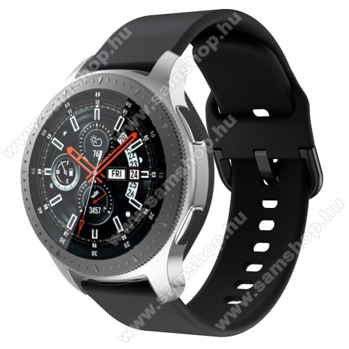 SAMSUNG SM-R380 Gear 2Okosóra szíj - szilikon - FEKETE - 116mm + 83mm hosszú, 22mm széles, 130mm-től 205mm-es méretű csuklóig ajánlott - SAMSUNG Galaxy Watch 46mm / SAMSUNG Gear S3 Classic / SAMSUNG Gear S3 Frontier