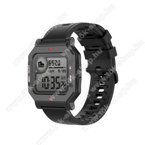 Okosóra szíj - szilikon - FEKETE - 120mm+85mm hosszú, 20mm széles, 140-220mm átmérőjű csuklóméretig - SAMSUNG Galaxy Watch 42mm / Amazfit GTS / Galaxy Watch3 41mm / HUAWEI Watch GT 2 42mm / Galaxy Watch Active / Active 2