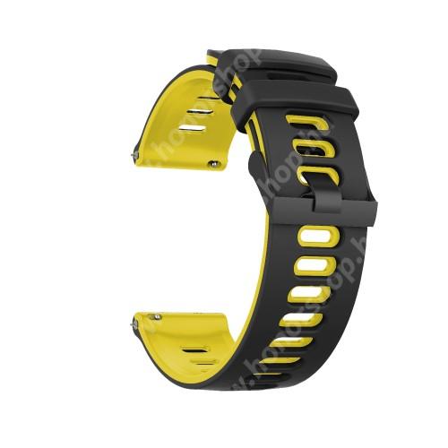 Okosóra szíj - szilikon - FEKETE / CITROMSÁRGA - 125mm + 87mm hosszú, 22mm széles, 135-235mm átmérőjű csuklóméretig - SAMSUNG Galaxy Watch 46mm / Watch GT2 46mm / Watch GT 2e / Galaxy Watch3 45mm / Honor MagicWatch 2 46mm