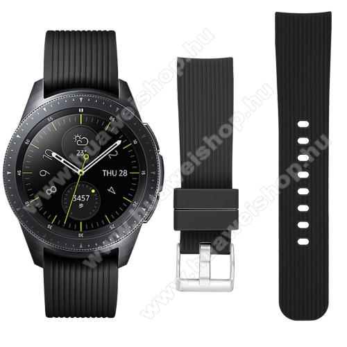 HUAWEI Watch GT 2 42mmOkosóra szíj - szilikon - FEKETE - SAMSUNG Galaxy Watch 42mm / HUAWEI Watch GT 2 42mm