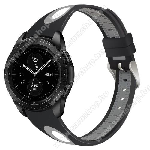 SAMSUNG SM-R770 Gear S3 ClassicOkosóra szíj - szilikon - FEKETE / SZÜRKE - 110mm + 80mm hosszú, 22mm széles - SAMSUNG Galaxy Watch 46mm / SAMSUNG Gear S3 Classic / SAMSUNG Gear S3 Frontier
