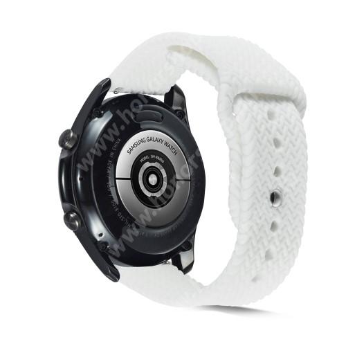 Okosóra szíj - szilikon, fonott mintás - FEHÉR - 160mm-től 200mm-es méretű csuklóig ajánlott, 95mm + 115mm hosszú, 22mm széles - SAMSUNG Galaxy Watch 46mm / Watch GT2 46mm / Watch GT 2e / Galaxy Watch3 45mm / Honor MagicWatch 2 46mm
