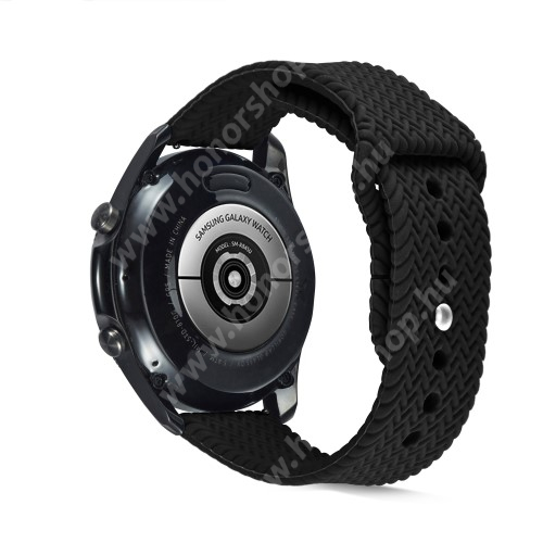 Okosóra szíj - szilikon, fonott mintás - FEKETE - 160mm-től 200mm-es méretű csuklóig ajánlott, 95mm + 115mm hosszú, 22mm széles - SAMSUNG Galaxy Watch 46mm / Watch GT2 46mm / Watch GT 2e / Galaxy Watch3 45mm / Honor MagicWatch 2 46mm
