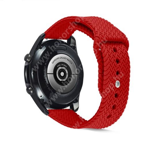 Okosóra szíj - szilikon, fonott mintás - PIROS - 160mm-től 200mm-es méretű csuklóig ajánlott, 95mm + 115mm hosszú, 22mm széles - SAMSUNG Galaxy Watch 46mm / Watch GT2 46mm / Watch GT 2e / Galaxy Watch3 45mm / Honor MagicWatch 2 46mm