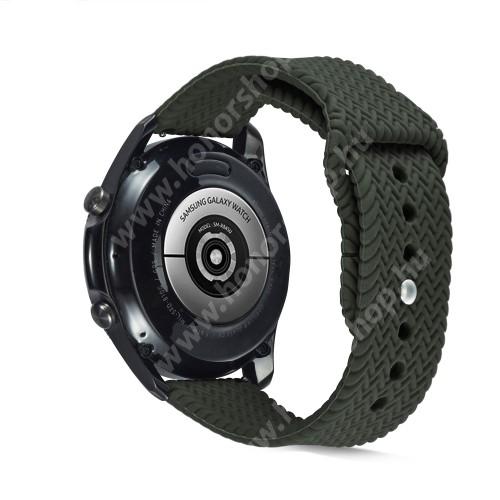 Okosóra szíj - szilikon, fonott mintás - SÖTÉTZÖLD - 160mm-től 200mm-es méretű csuklóig ajánlott, 95mm + 115mm hosszú, 22mm széles - SAMSUNG Galaxy Watch 46mm / Watch GT2 46mm / Watch GT 2e / Galaxy Watch3 45mm / Honor MagicWatch 2 46mm