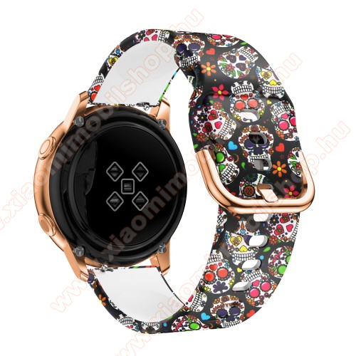 Okosóra szíj - szilikon - KOPONYA MINTÁS - 98mm+135mm hosszú, 20mm széles, 150-200mm átmérőjű csuklóméretig - SAMSUNG Galaxy Watch 42mm / Xiaomi Amazfit GTS / SAMSUNG Gear S2 / HUAWEI Watch GT 2 42mm / Galaxy Watch Active / Active 2
