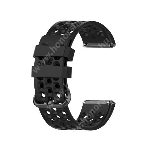 Okosóra szíj - szilikon, légáteresztő, sportoláshoz, 103mm + 92mm hosszú, 23mm széles - FEKETE - Fitbit Versa / Fitbit Versa Lite / Fitbit Versa 2